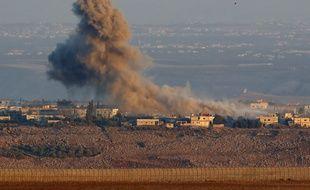Eir Zivan, le 26 juillet 2018. Une explosion sur la partie syrienne du plateau du Golan occupée et annexée par Israël.