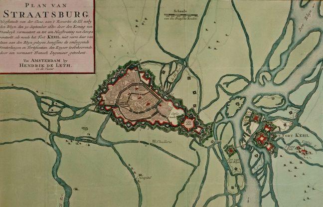 La carte de Strasbourg en 1750, une carte de Henrik de Leth.