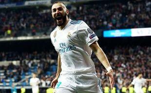 Karim Benzema a inscrit un doublé lors de la demi-finale retour de Ligue des champions entre le Real Madrid et le Bayern Munich, le 1er mai 2018.