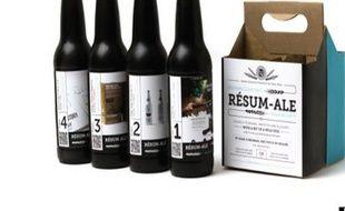 Brennan Gleason a eu l'idée d'imprimer son CV sur des bouteilles d'une bière qu'il a lui-même brassée.