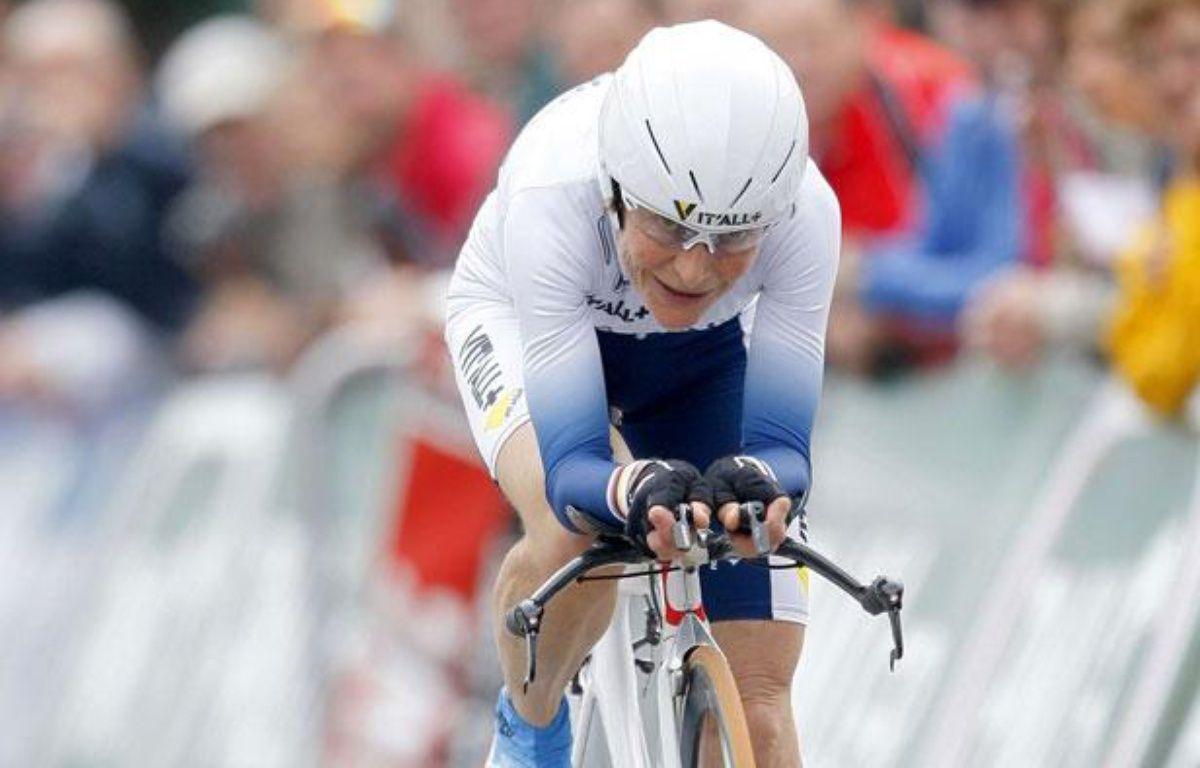 La championne cycliste française Jeannie Longo, lors du contre la montre des championnats de France le 21 juin 2012.  – M.Spingler/AP/Sipa