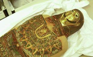 Lyon, le 16 janvier 2018. Des momies du centre de conservation du musée des Confluences sont actuellement étudiées grâce à l'imagerie médicale dans le cadre d'un projet piloté par l'Université Paul Valery Montpellier 3.