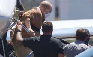 L'ex-producteur Harvey Weinstein à son arrivée à l'aéroport de Burbank, en Californie, le 20 juillet 2021.