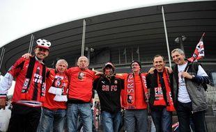 Supporters rennais et guingampais réunis au Stade de France avant la finale de Coupe de France, en mai 2014.