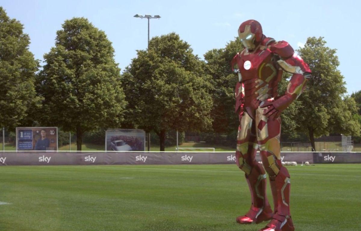 Arjen Robben se transforme en Iron Man pour une publicité pour Sky Sport. – Capture d'écran/DR