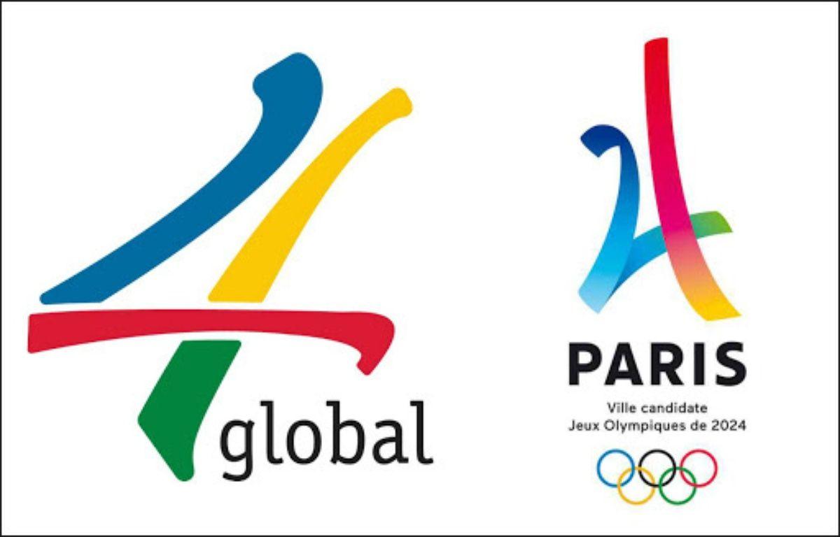 Le Logo de la société 4 Global, à gauche, et celui de Paris 2024 à droite.  – 20 Minutes