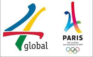 Le Logo de la société 4 Global, à gauche, et celui de Paris 2024 à droite.