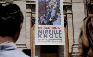 Commémoration à Rome après la mort de Mireille Knoll en 2018.