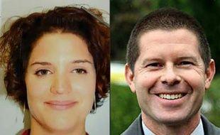 Combo fourni par la police française le 14 juin 2016 montrant Jean-baptiste Salvaing et sa compagne Jessica Schneider assassinés le 13 juin 2016 près de Paris
