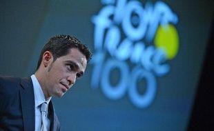 Le coureur espagnol Alberto Contador, lors de la présentation du Tour de France 2013, le 24 octobre 2012.