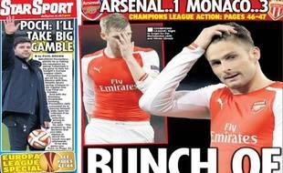 La presse britannique n'est pas tendre avec Arsenal après la défaite contre Monaco.