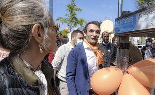 Florian Philippot lors d'une manifestation à Lyon, mi-avril.