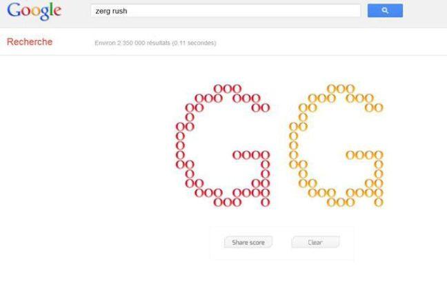 Le «zerg rush», easter egg de Google lancé le 27 avril 2012.