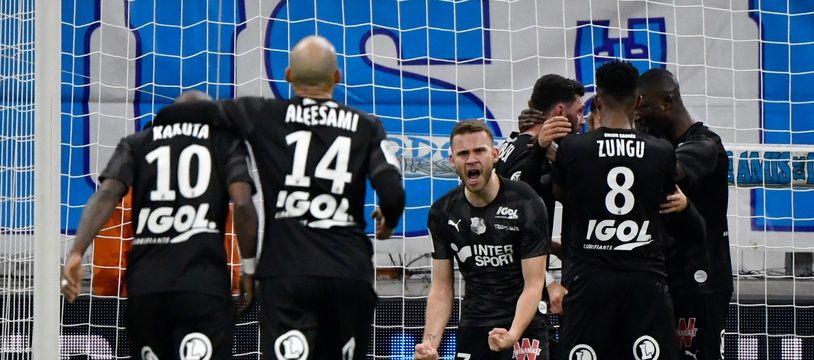Les joueurs d'Amiens lors du match contre l'OM, le 6 mars 2020.