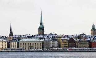 L'île de Gamla Stan, la ville médiévale de Stockholm, le 2 février 2012