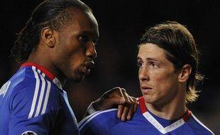 Didier Drogba et Fernando Torres, contre Manchester, en quart de finale de la Ligue des champions, le 6 avril 2011, à Londres.