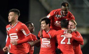 La joie des Rennais, qualifiés pour les quarts de finale de la Coupe de la Ligue.