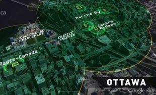 Le rayon d'action des appareils découverts englobe le Parlement canadien, les bureaux du Premier ministre, les bureaux de Radio-Canada et plusieurs ambassades.