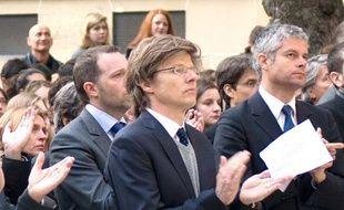 Hervé Crès (au centre), aux obsèques de Richard Descoings, en avril 2012.