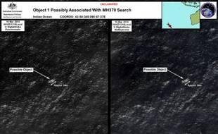 Combinaison d'images satellites montrant de possibles débris du vol MH370 de Malaysia Airlines dans l'Océan Indien, diffusées le 20 mars 2014 par le département de la Défense australien.