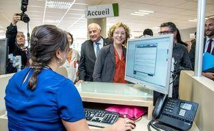La ministre du Travail Muriel Pénicaud dans une agence Pôle Emploi de Lyon, le 4 août 2017.