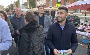 Bruno Clavet en campagne à Lens en compagnie de Steve Briois, maire d'Hénin-Beaumont.