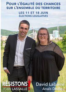 L'affiche de campagne de David Labarre avec sa suppléante Anaïs Dedieu aux élections législatives 2017.