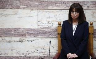 La présidente grecque Katerina Sakellaropoulou, le 13 mars 2020.