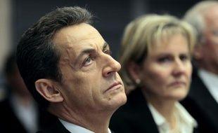 Nicolas Sarkozy (g) et Nadine Morano, alors ministre de l'Apprentissage, lors d'une visite à Metz le 1er janvier 2012