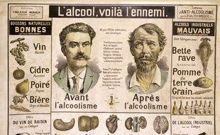 Tableau pédagogique sur les dangers de l'alcool à la fin du 19e siècle.