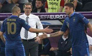 Karim Benzema remplacé Olivier Giroud lors de France-Ukraine, le 15 juin 2012 à Donetsk.