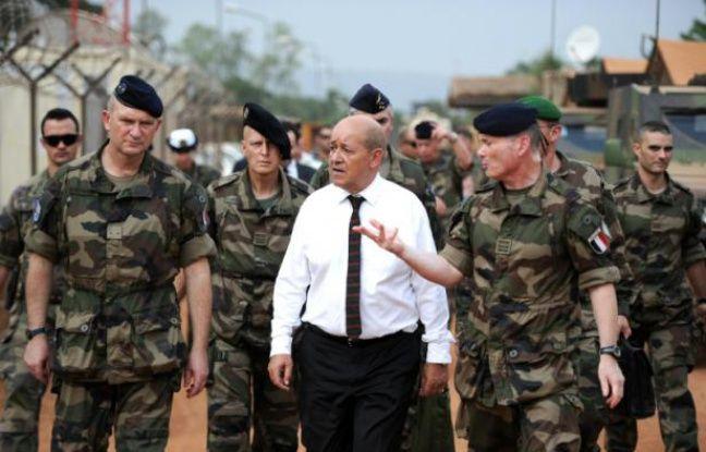 Le ministre français de la Défense Jean-Yves Le Drian (c), le 7 juillet 2014 à Bangui