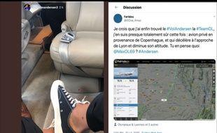 Le 11 juillet, Joachim Andersen a publié une photo de l'intérieur de son avion privé. Des twittos supporters de l'OL ont fait le reste en devinant le vol exact du défenseur lyonnais jusqu'à Lyon.