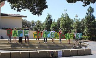 Le 16 septembre 2015. Une manifestation pour protester contre le viol commis à l'université de Stanford.Tessa Ormenyi/AP/SIPA