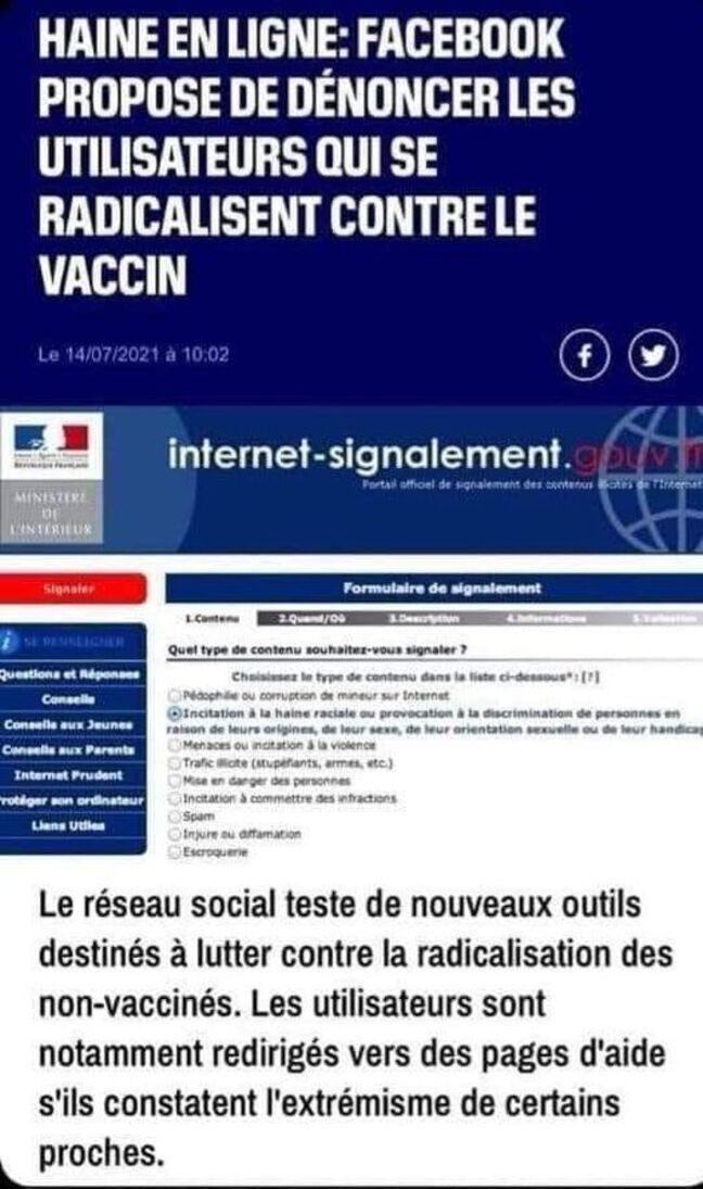 Ce visuel mensonger circule de manière virale sur les réseaux sociaux et laisse entendre que Facebook proposerait de dénoncer ses connaissances antivax (Capture d'écran)