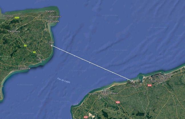 Le trajet théorique effectué par les trois migrants en canot de sauvetage