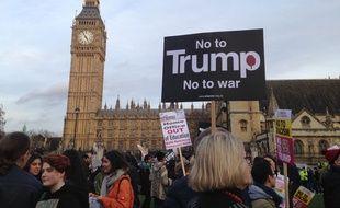 Manifestation contre la visite officielle de Donald Trump au Royaume-Uni à Londres, le 20 février 2017.