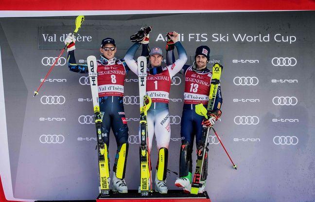 Alexis Pinturault remporte le slalom de Val d'Isere. (Photo by JEFF PACHOUD / AFP)