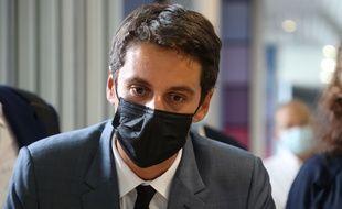 Gabriel Attal, porte-parole du Gouvernement, Centre de vaccination du Palais des Expositions Acropolis, Nice FRANCE - 10/08/2021.
