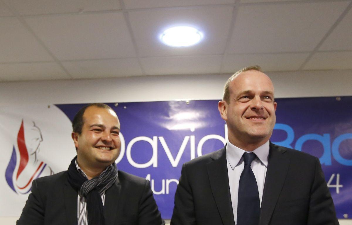 David Rachline et Steeve Briois à Fréjus le 27 mars. – VALERY HACHE / AFP