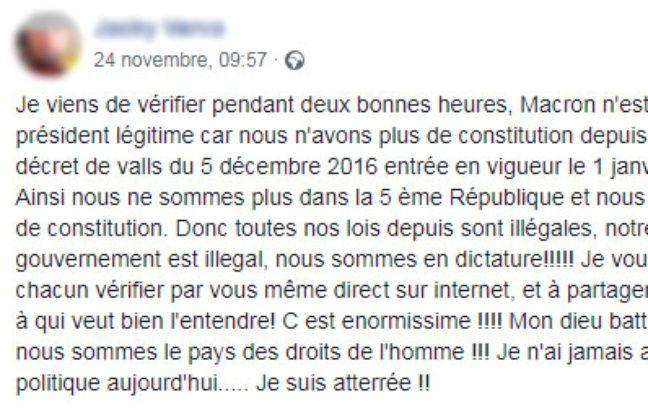Le post Facebook sur la prétendue dictature en place depuis 2017.