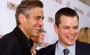 George Clooney et Matt Damon le 6 juillet 2007 à Chicago.