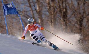 L'Allemande Maria Hoefl-Riesch lors de la descente olympique le 12 février 2014.