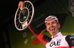 Tadej Pogacar, après avoir remporté le Tour de Lombardie, à Bergame, en Italie, le samedi 9 octobre 2021.