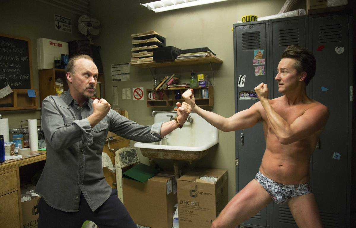"Michael Keaton et Edward Norton dans ""Birdman"". – LILO/SIPA"