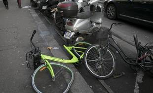 Un vélo de l'entreprise Gobee.bike, photographié à Paris, le 1er février 2018.