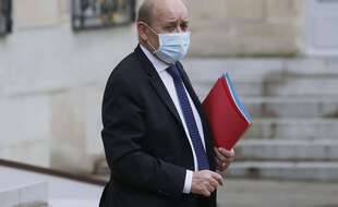 Le ministre des Affaires étrangères, Jean-Yves Le Drian, à sa sortie de l'Elysée le 3 février 2021.
