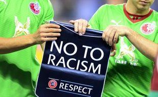 Une action contre le racisme de l'UEFA lors d'un match entre le Rubin Kazan et Wigan, le 24 octobre 2014.