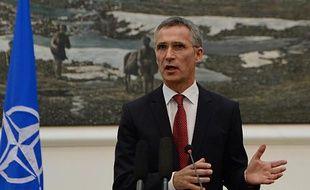 Le secrétaire général de l'Otan Jens Stoltenberg lors d'une conférence de presse le 6 novembre 2014 à Kaboul