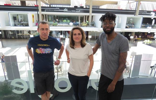 Pierre, Aurélie et Dikom à la Station F